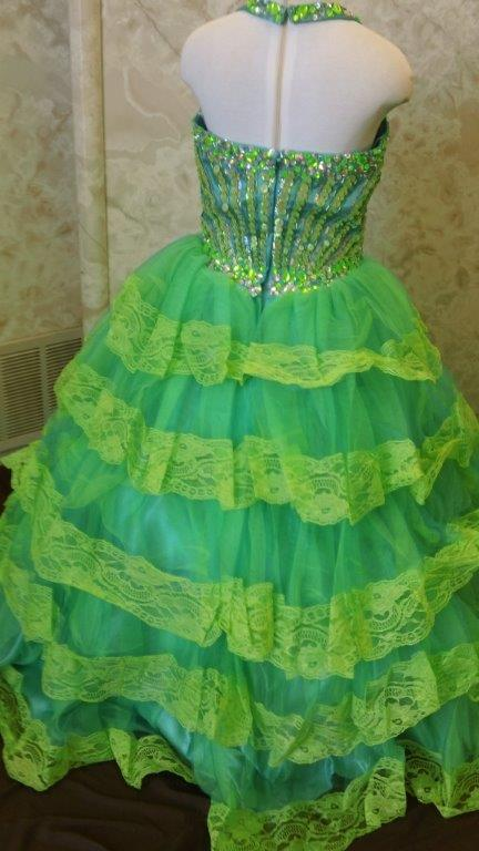 lime halter pageant dress