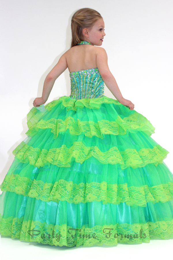 Lime halter beaded bodice pageant dress