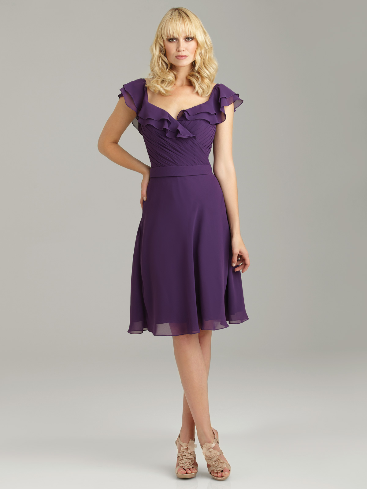 Purple chiffon bridesmaid dress
