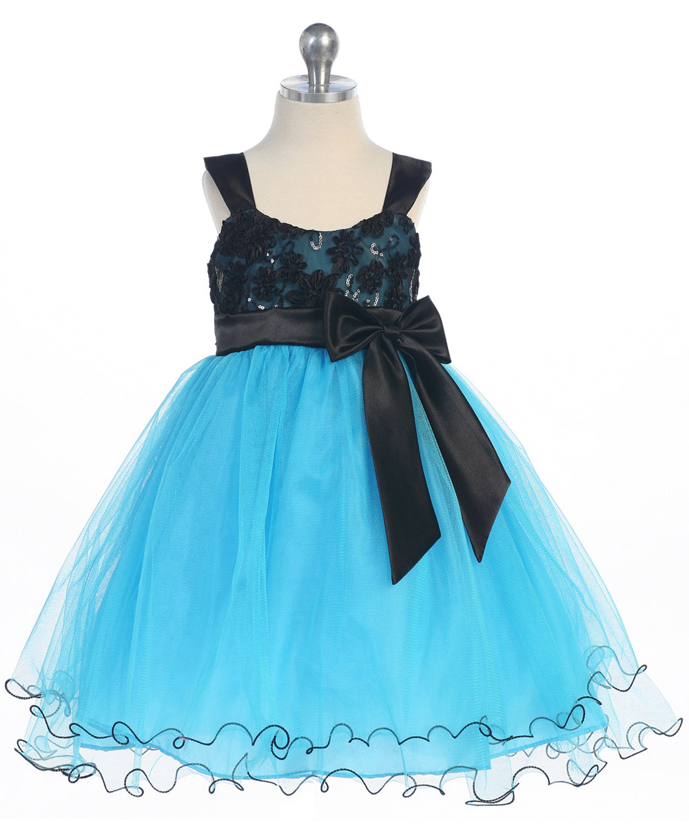 Girls Black sequin bodice with turquoise ruffle skirt