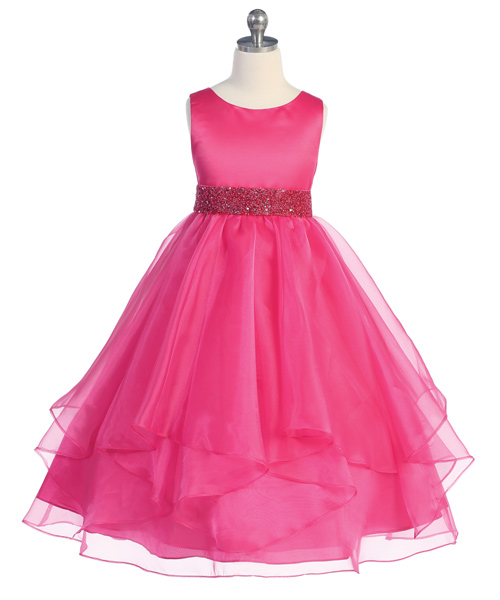 Fuchsia organza flower girl dresses