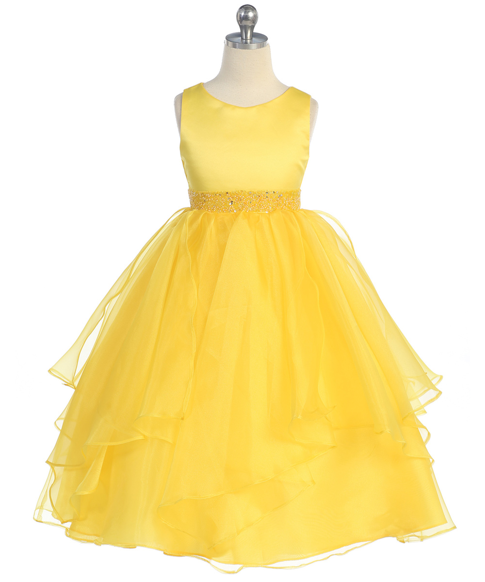 yellow organza flower girl dresses