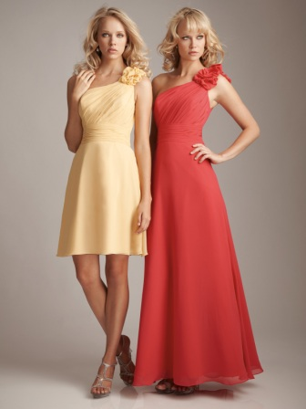 one shoulder ruffles bridesmaids dresses