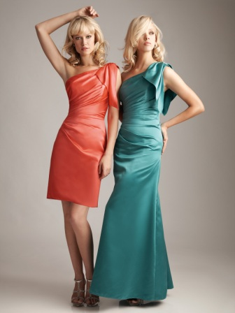 Draped one shoulder bridesmaid dresses