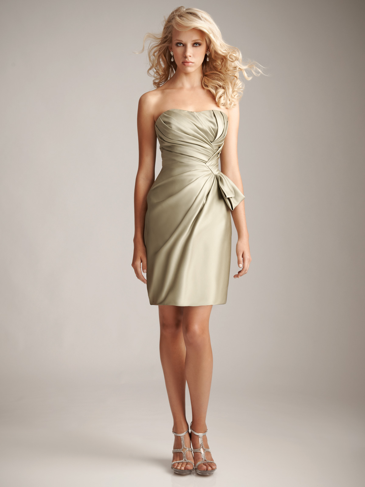 strapless short bridesmaid dress