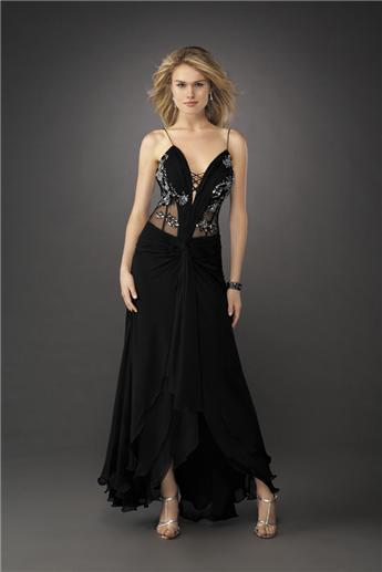 black evening gown with see through sides and back
