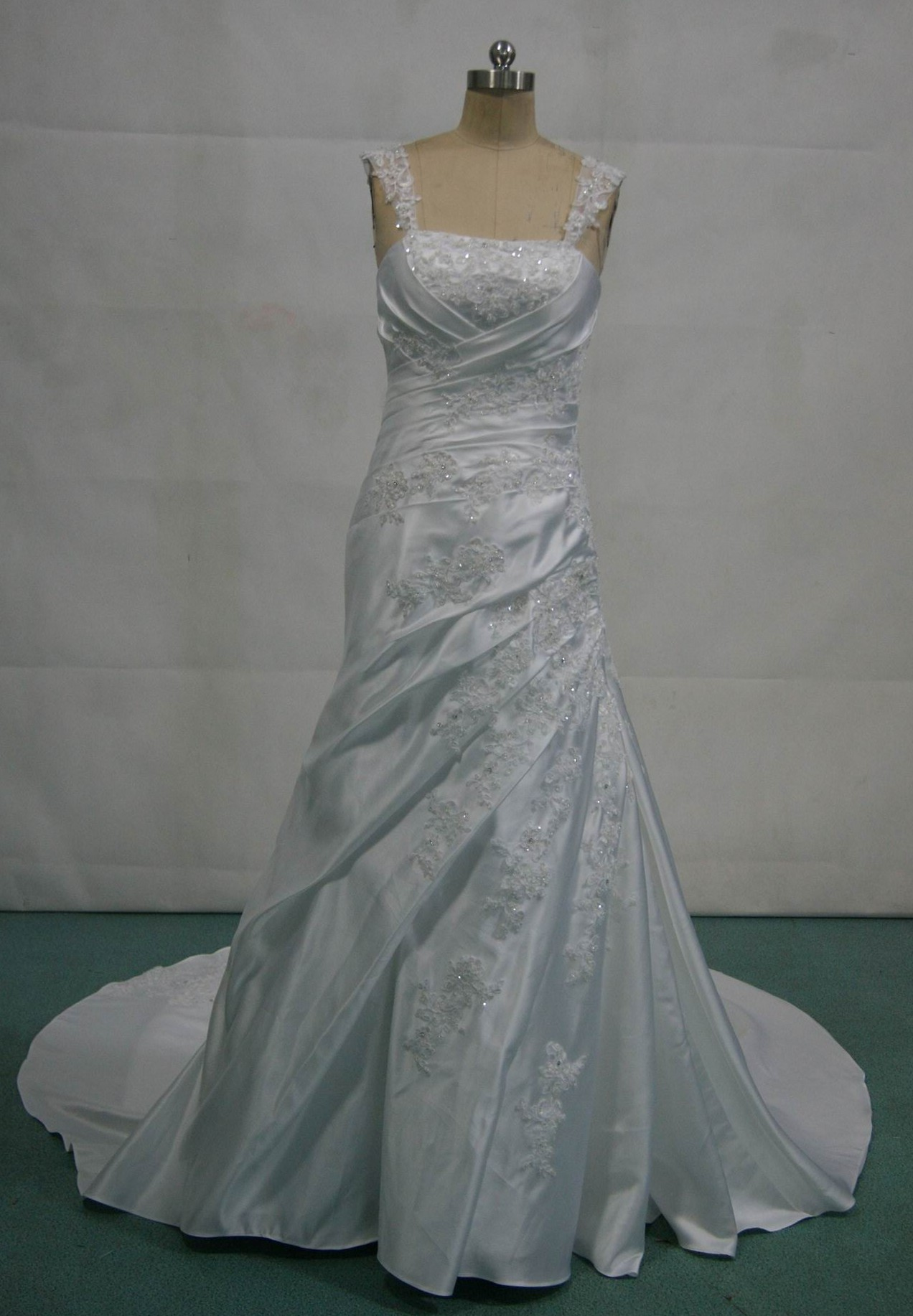 Draped A-line wedding gown
