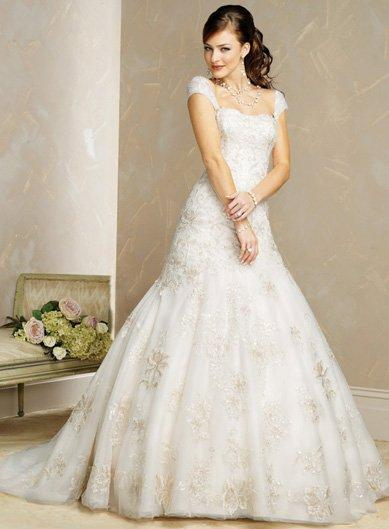 embellished lace wedding gown