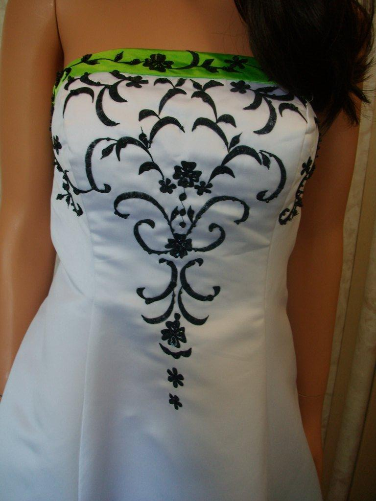 wedding gown green black white