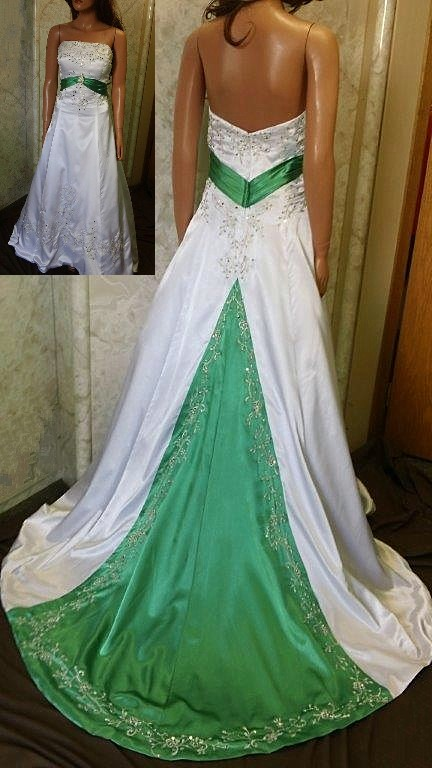 white and green silk wedding dress