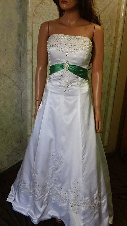 Green and white silk wedding gown