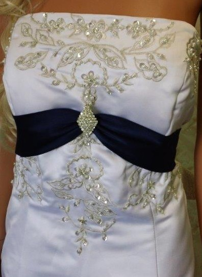 White wedding gown with Navy waistline and train