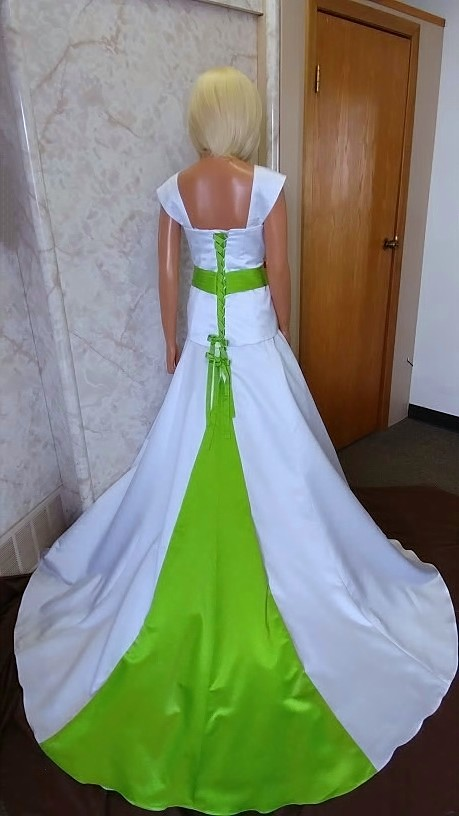 white wedding dress with lime green accents