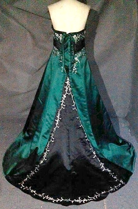 emerald green and black wedding gown