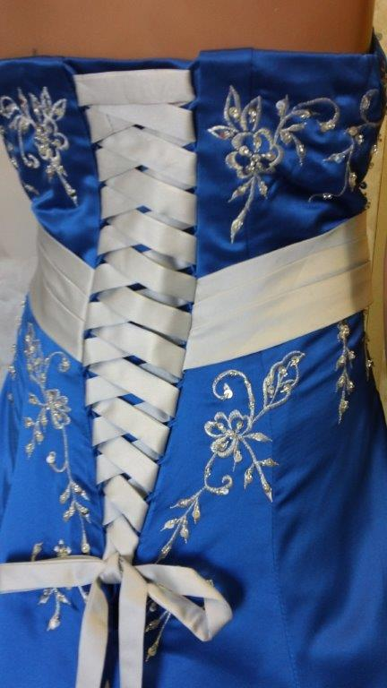 royal blue and silver wedding dress