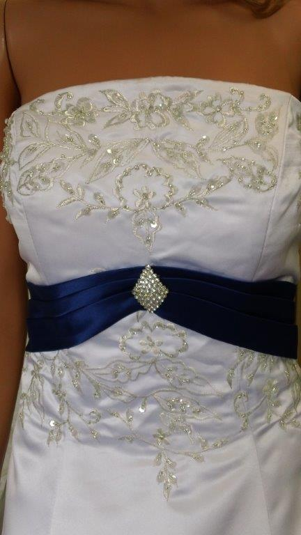 White wedding dress with bright blue train