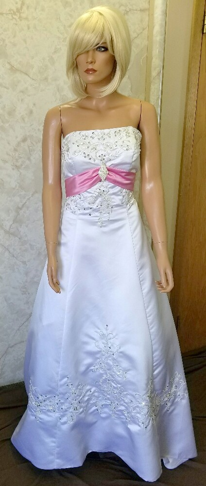 white and pink wedding dress