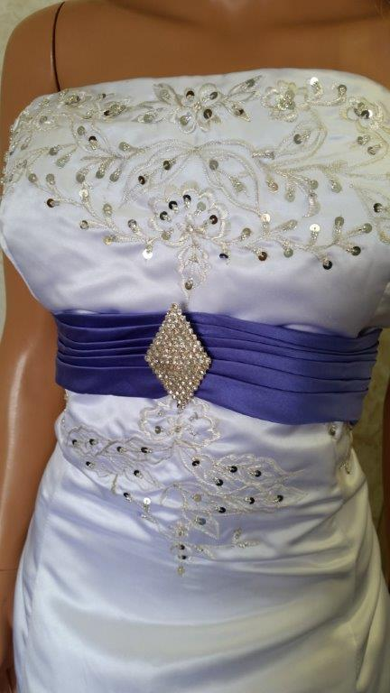 white and purple bride and flower girl dresses