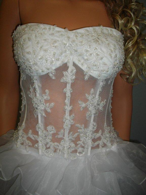 see thru corset organza wedding gown