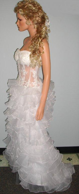 see thru corset wedding gown organza tiered skirt