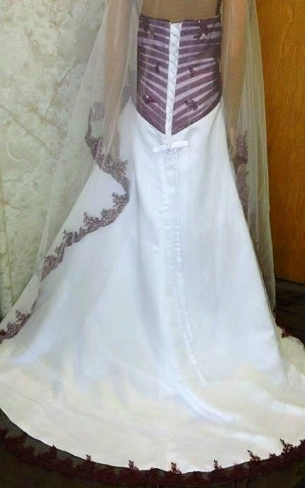 merlot and white wedding dress