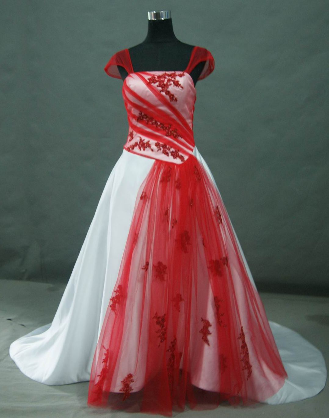 Wedding Dresses Color Red : Bridal gowns with color red and white wedding dress cap organza