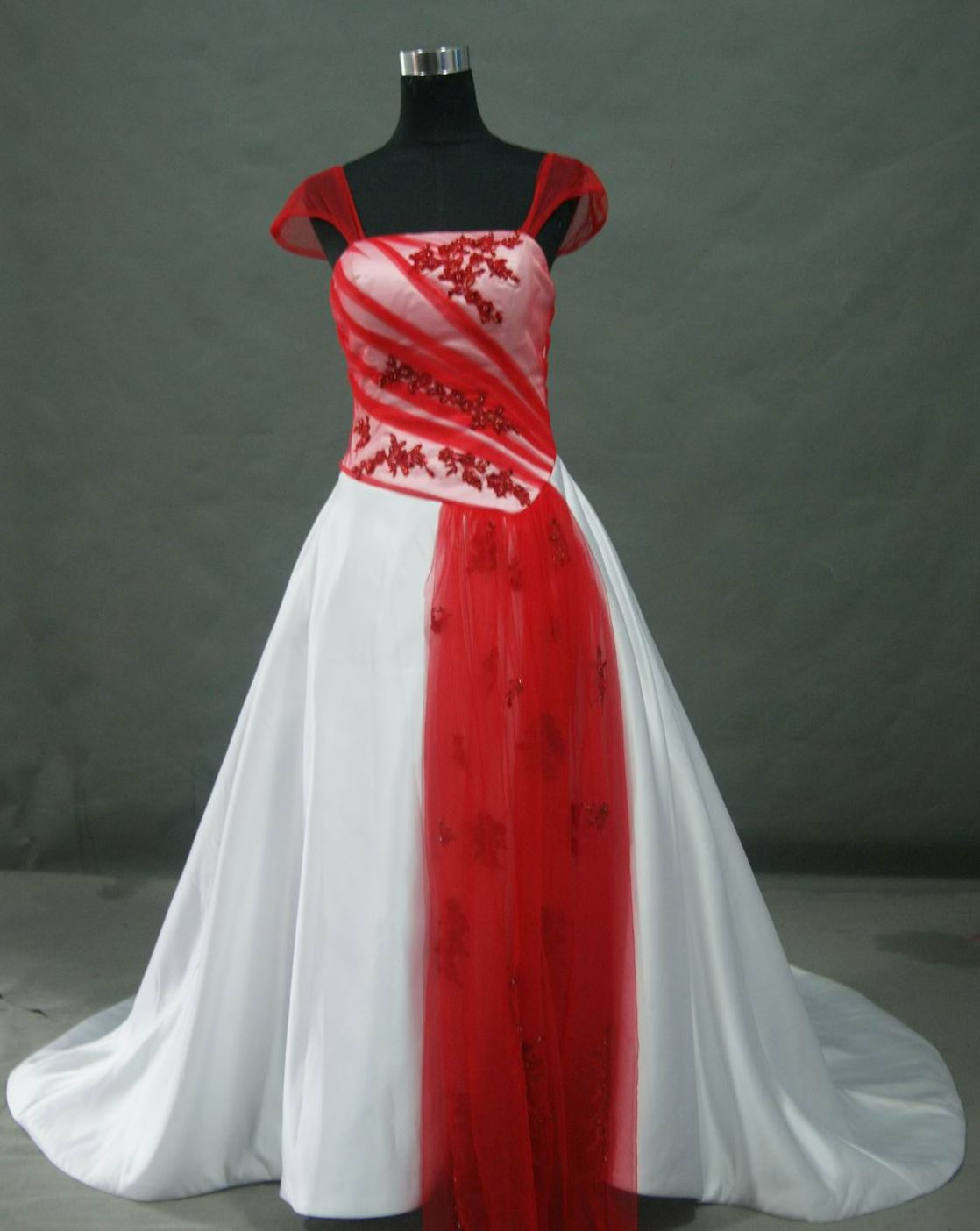 plus size white and red wedding dress