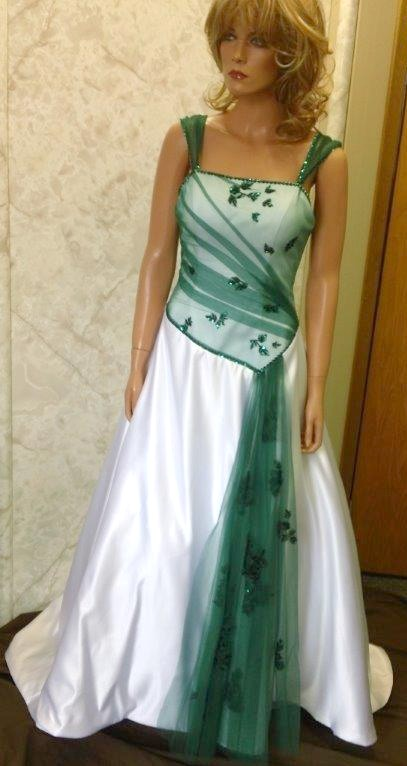 white and emerald green wedding dress