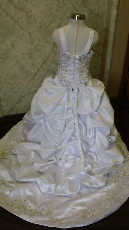 white and silver matching bride and flower girl dresses