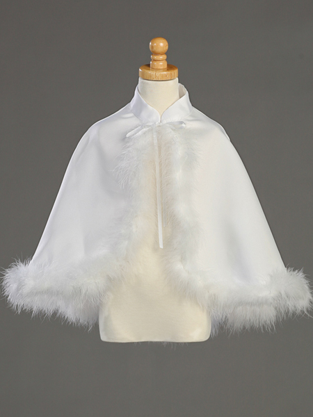 First Communion Satin and Marabou Cape