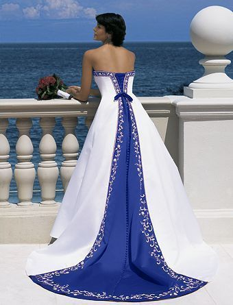wedding gown accented in blue