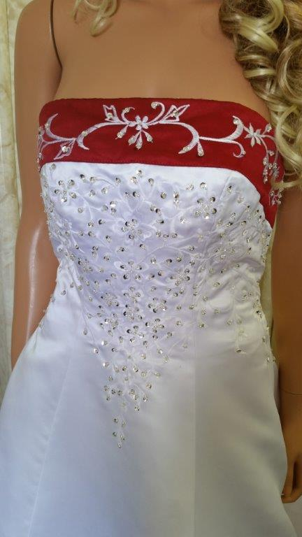 red white embroidered wedding dress
