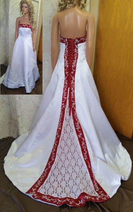 red white lace embroidered wedding dress