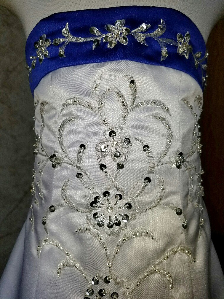 white and royal blue flower girl dresses