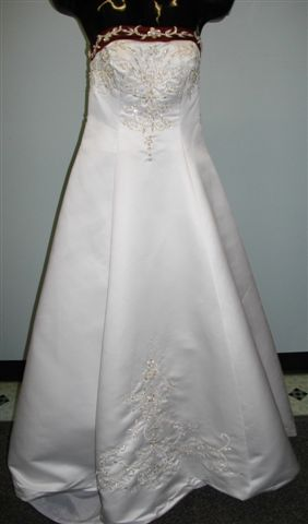 white dress with black contrasting trim beaded embroidery
