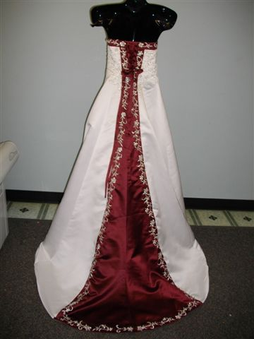 white and merlot wedding gown