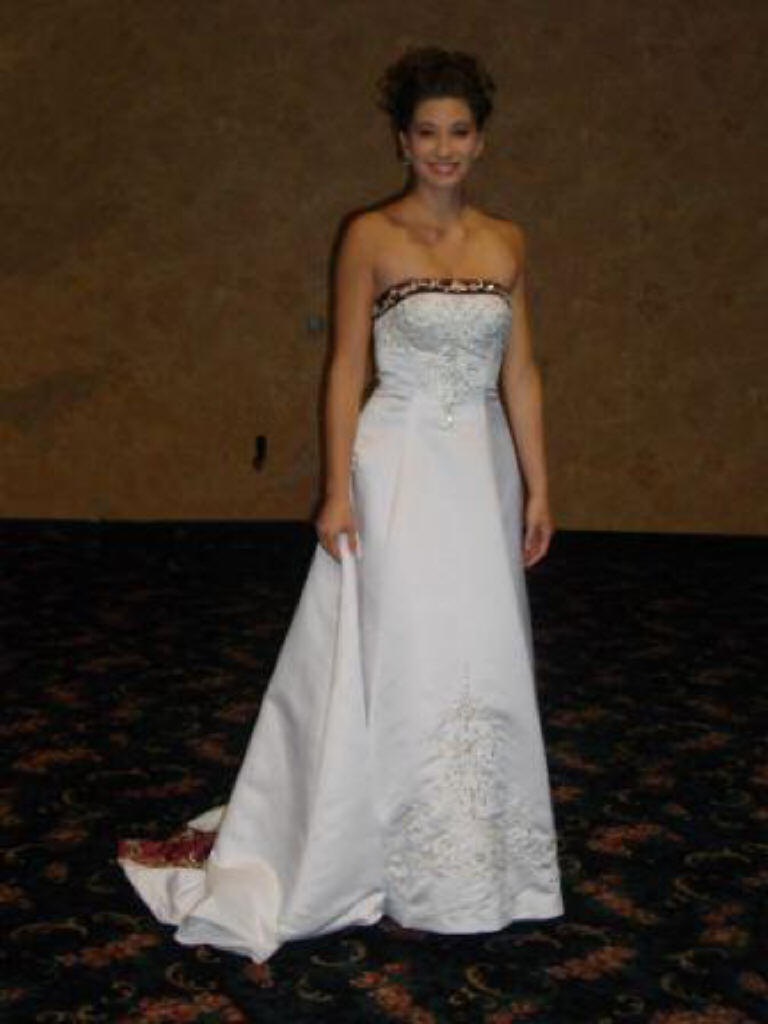 White and merlot strapless wedding dress