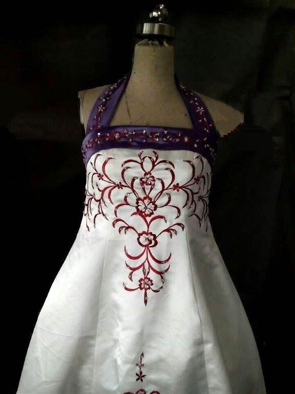 ivory purple red flower girl dress