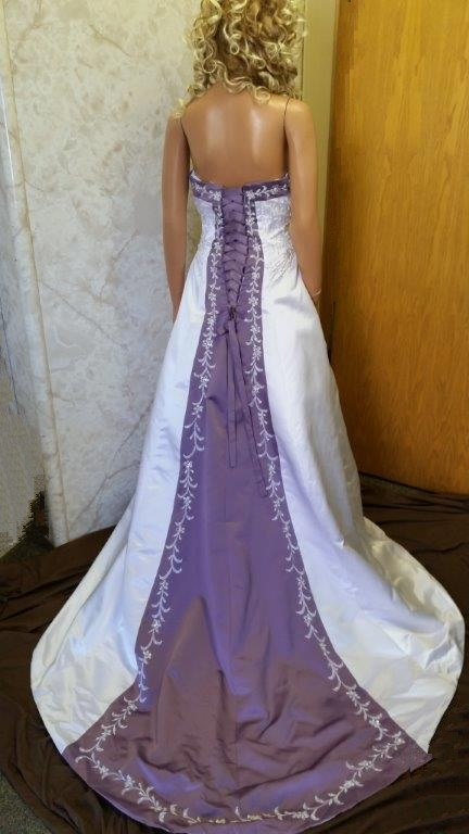 violet matching brides dress
