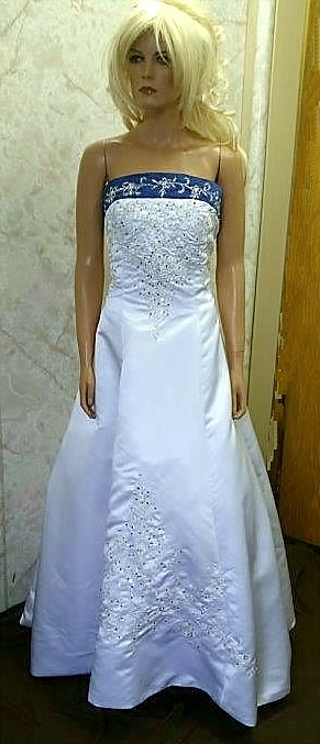 white bright blue wedding dress