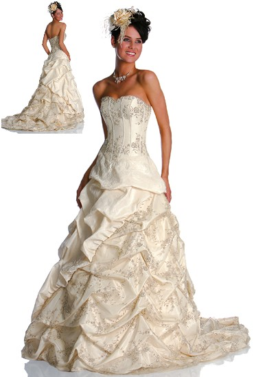 bridal dress with pick up skirt