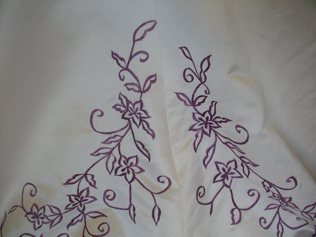 grape embroidered wedding gown