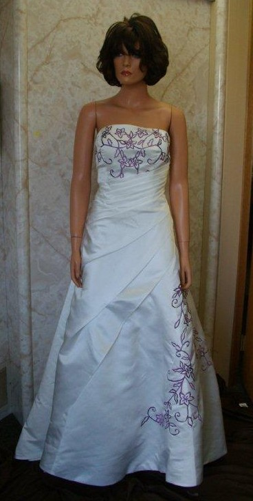 ivory and grape colored wedding dresses