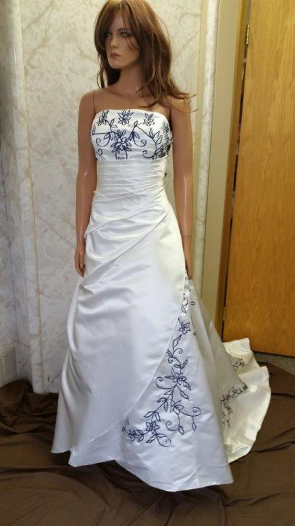 ivory and navy wedding dress