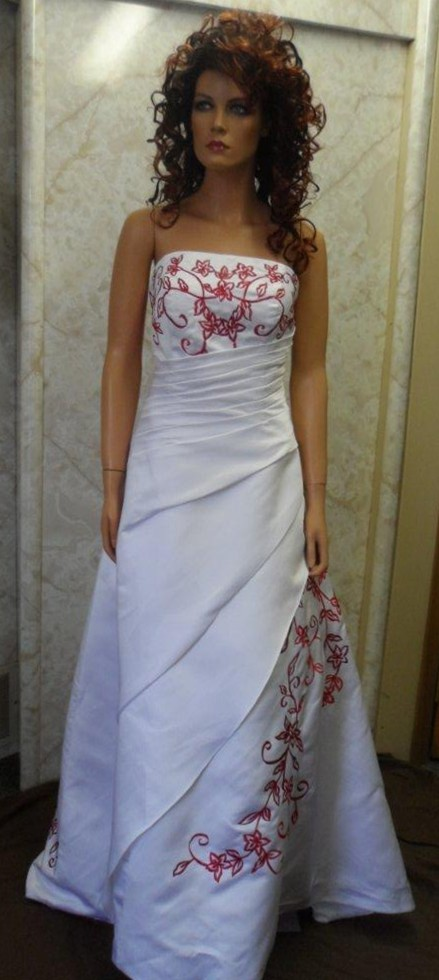 White wedding gown with red embroidery