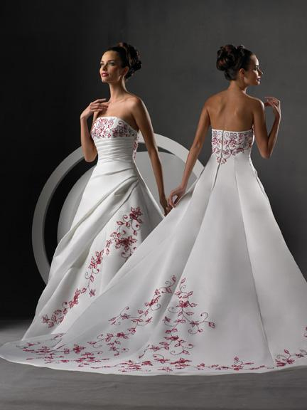 bridal gowns with color, beaded with merlot