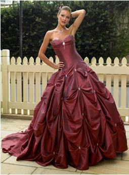 red pick up bridal gown