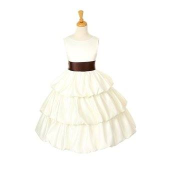ivory dress with brown sash