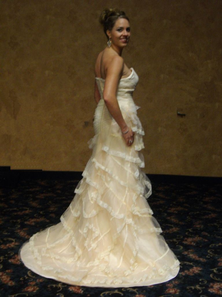 ivory tiered evening gown evening dress