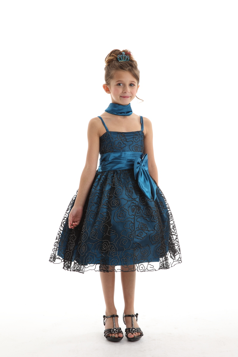 teal black kids dress